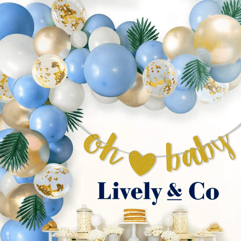 Oh Baby Balloon DIY Garland - Pale Blue, Gold & White