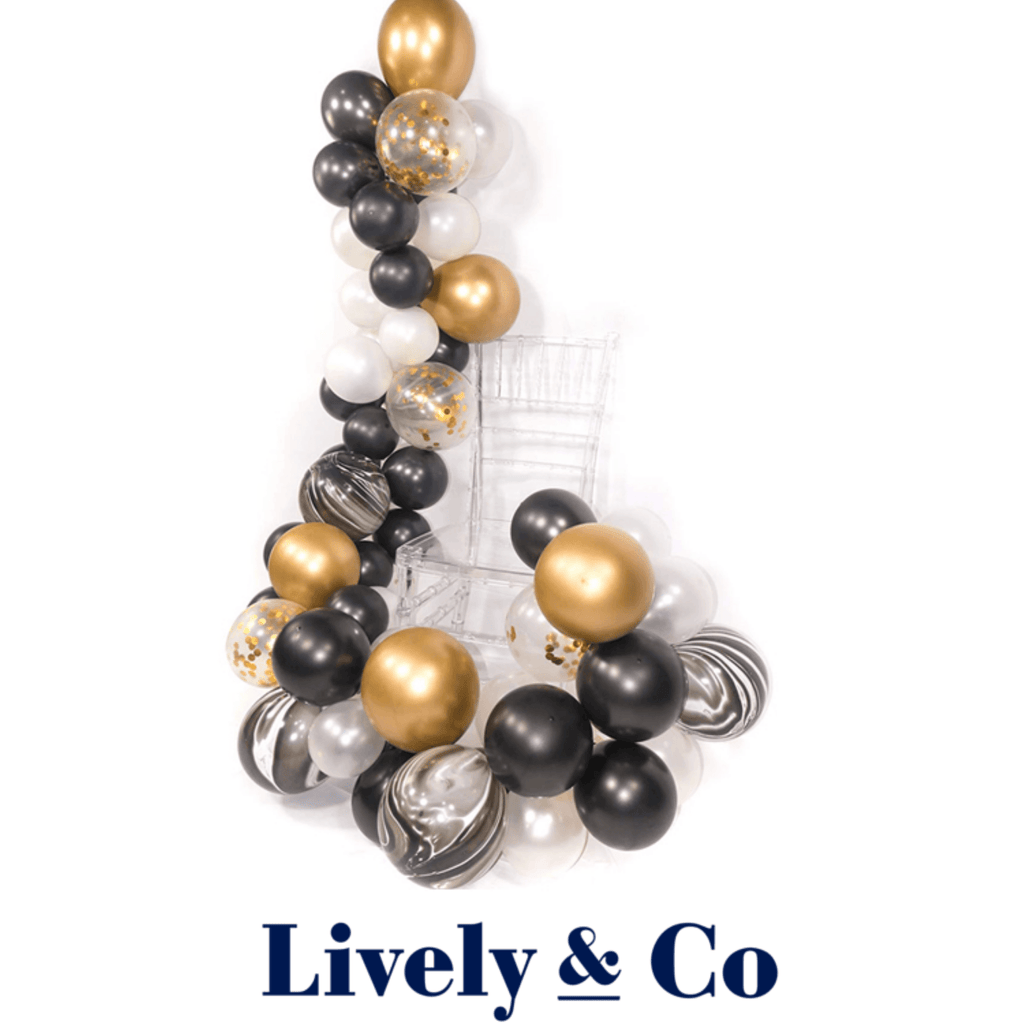 Balloon DIY Garland - Black Marble, Gold & White Lively & Co