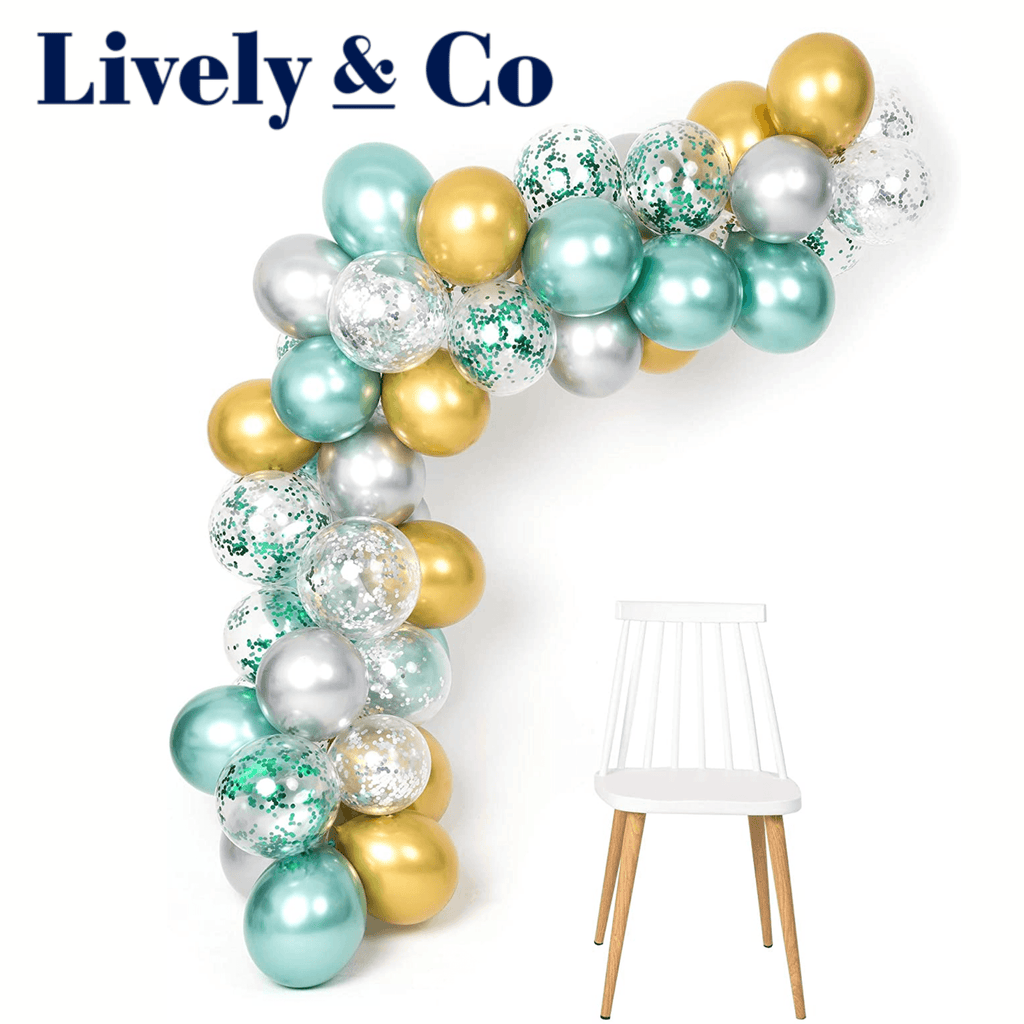 Balloon DIY Garland - Green, Silver & Gold Metallic