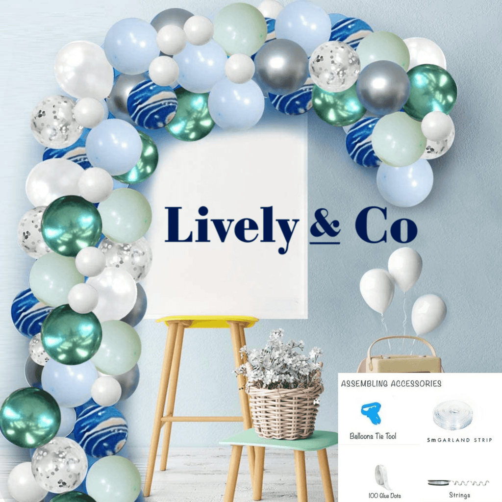 Balloon DIY Garland - Green, Blue Marble, Silver & White
