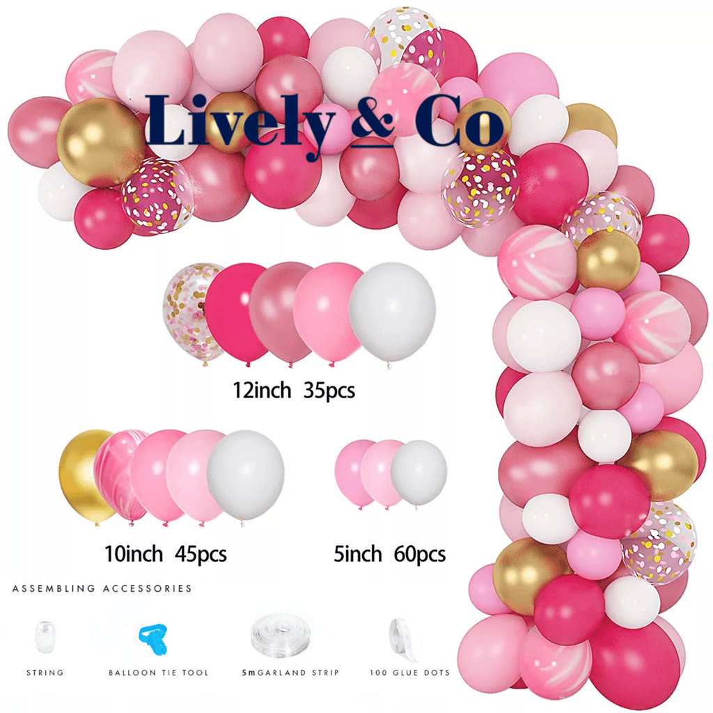 Pink Balloon DIY Garland - Hot Pink, Pale Pink, Gold & White