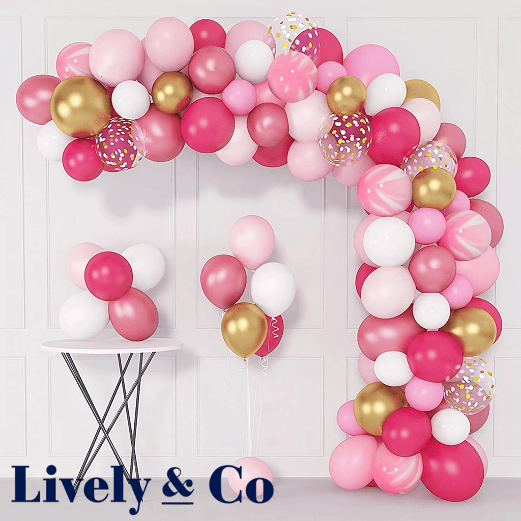 Pink Balloon DIY Garland - Hot Pink, Pale Pink, Gold & White Lively & Co