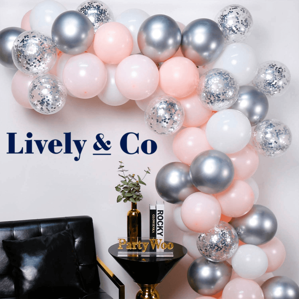 Balloon DIY Garland - Pale Pink, Silver & White Lively & Co