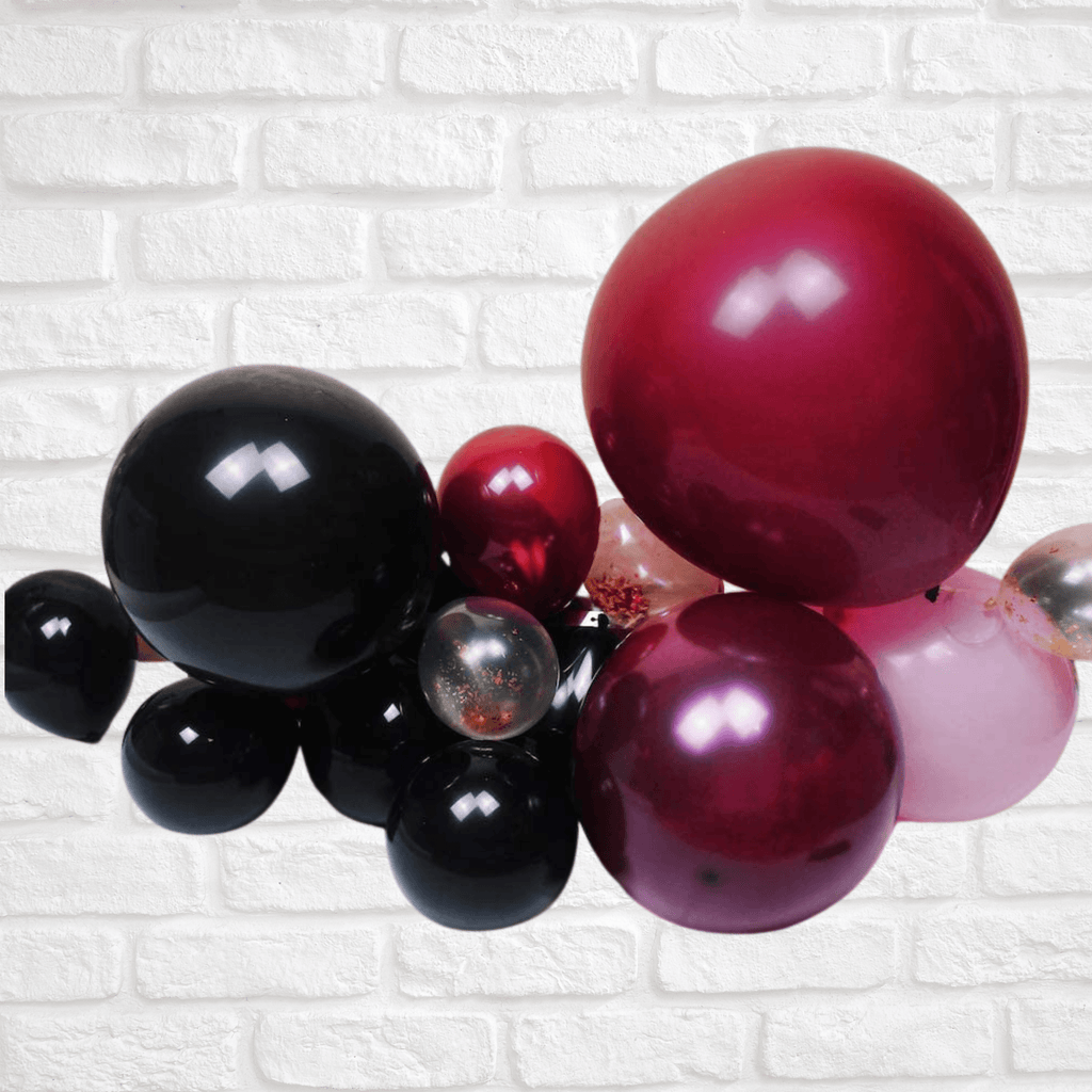 Balloon DIY Garland - Burgundy, Black, Macaron Pink & Gold