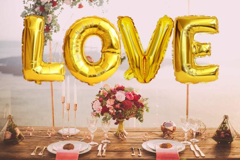 "BIG ""LOVE"" 1 metre High Foil Balloons GOLD"