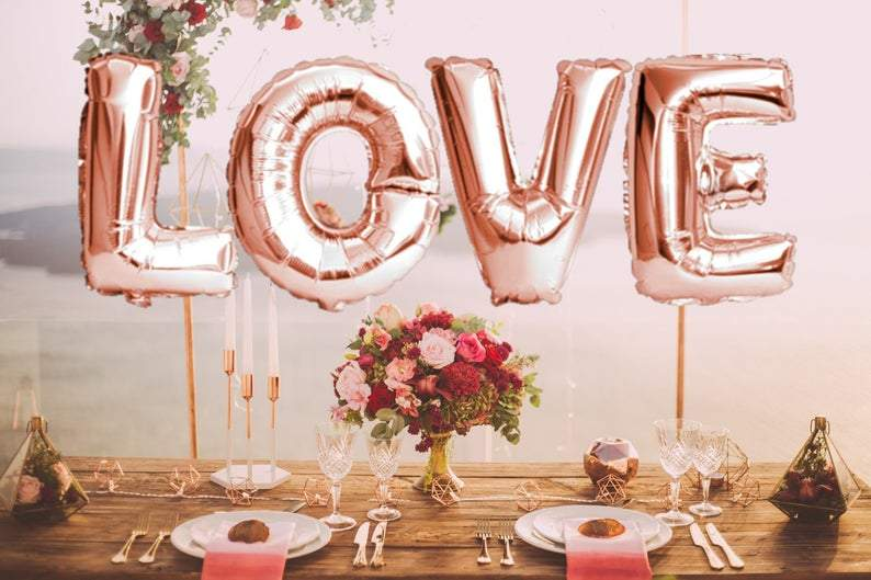 "BIG ""LOVE"" 1 metre High Foil Balloons ROSE GOLD"