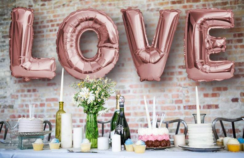 "BIG ""LOVE"" 1 metre High Foil Balloons ROSE GOLD Lively & Co"