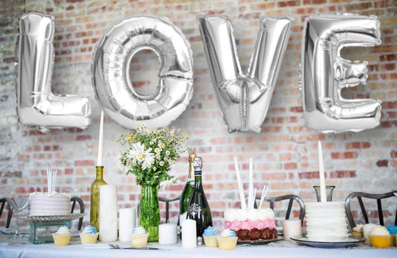 "BIG ""LOVE"" 1 metre High Foil Balloons SILVER"