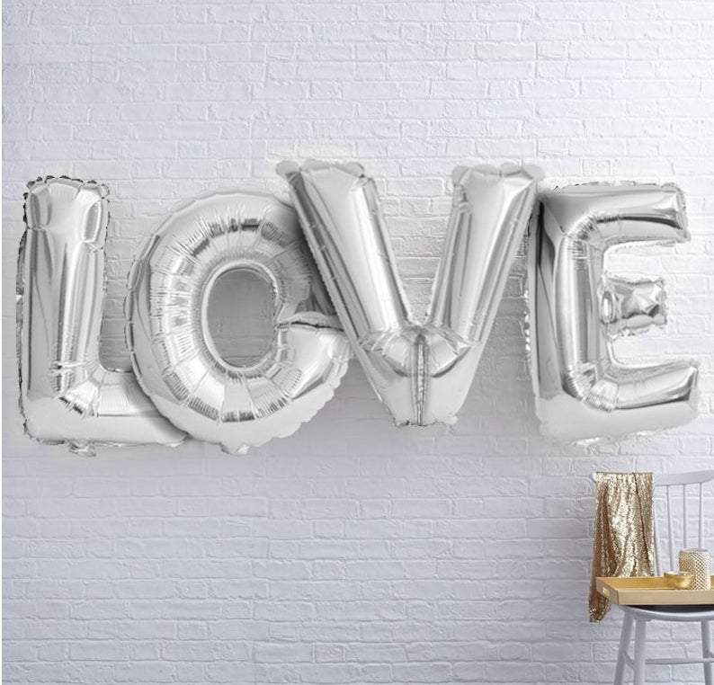 "BIG ""LOVE"" 1 metre High Foil Balloons SILVER Lively & Co"