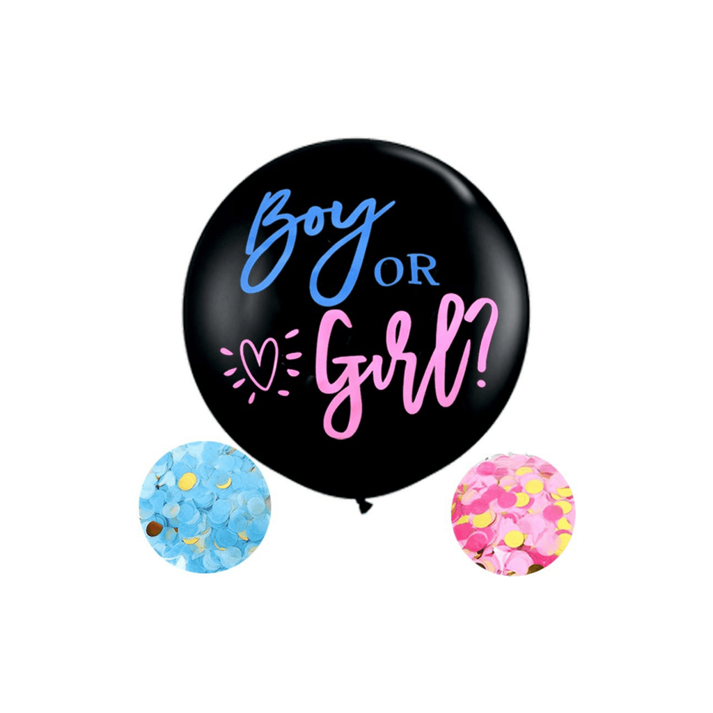 Gender Reveal Balloon With Pink & Blue Round Confetti