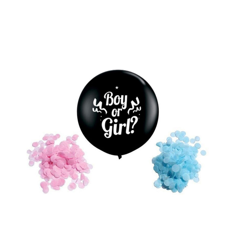 Gender Reveal Balloon With Pink & Blue Round Confetti Lively & Co