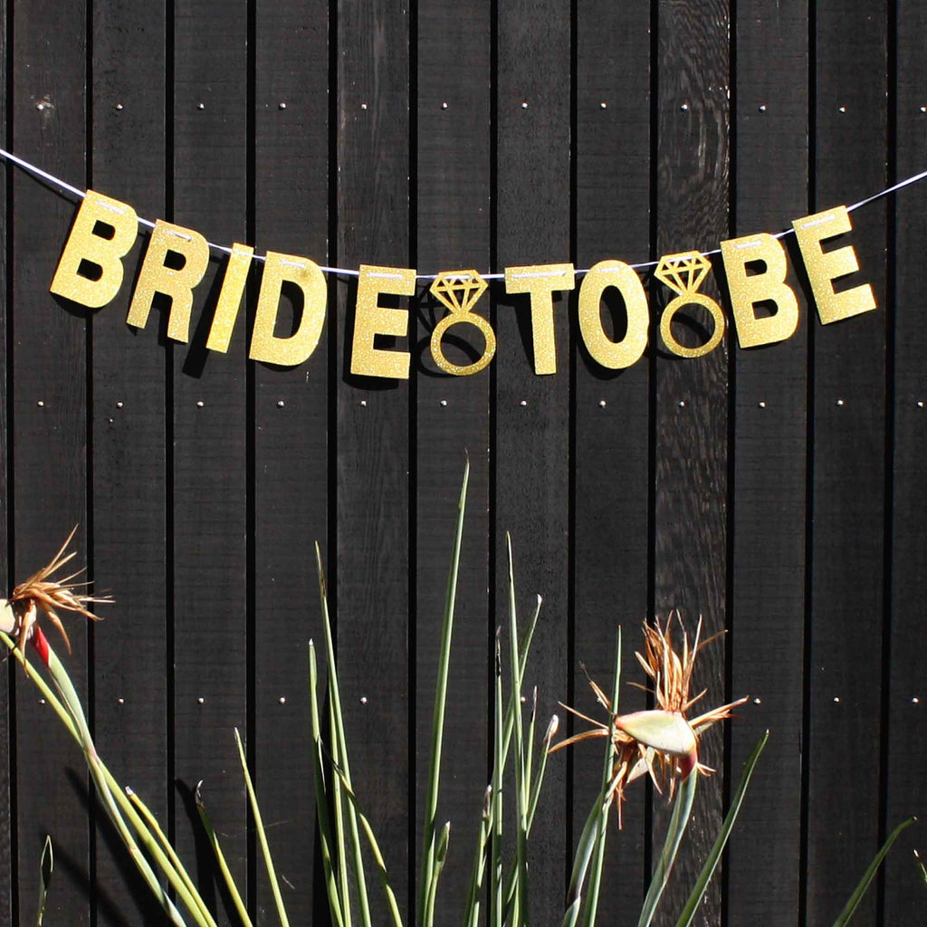 Bride To Be Gold banner for hens parties or engagement parties