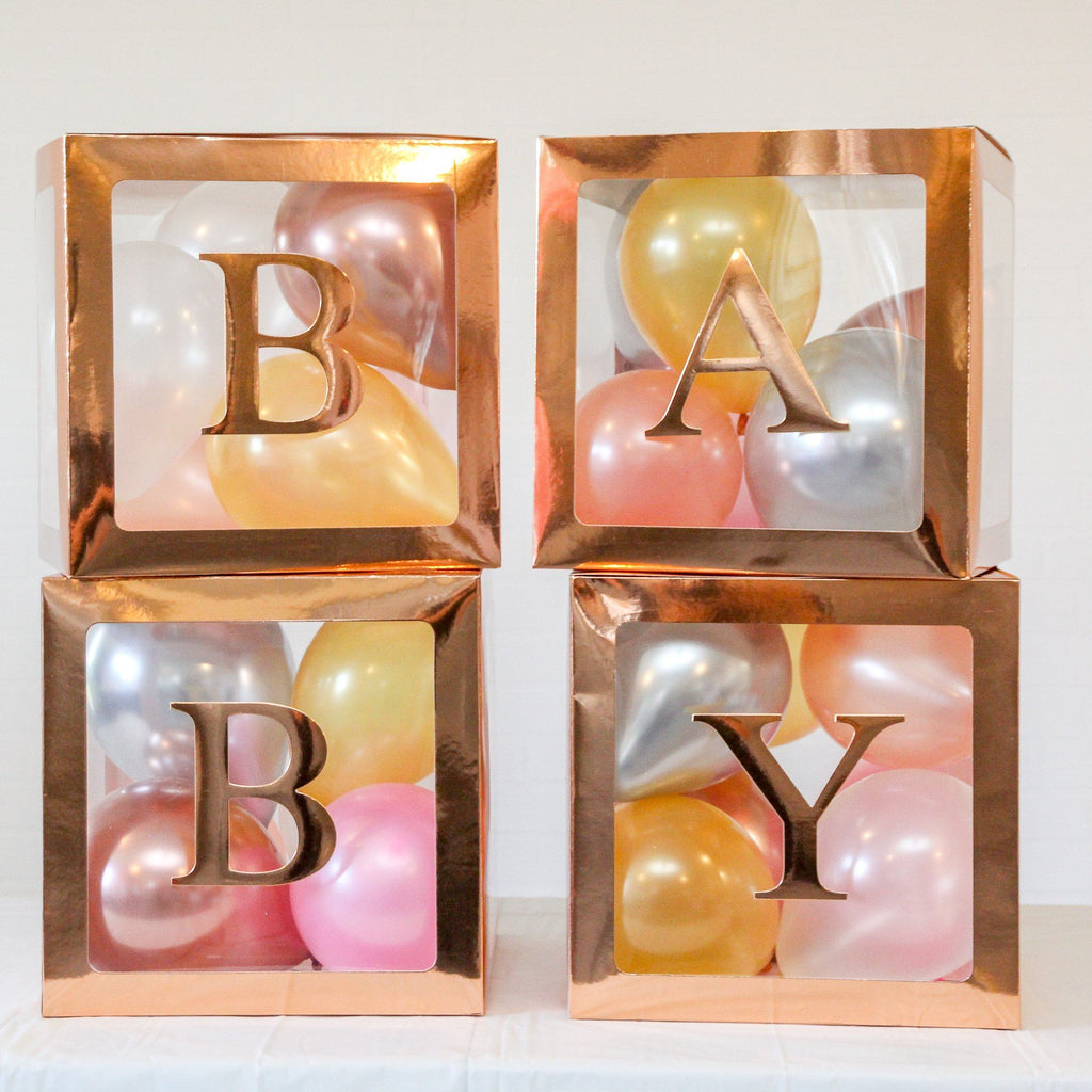 Baby Boxes Baby Shower Balloon Box Rose Gold Lively & Co