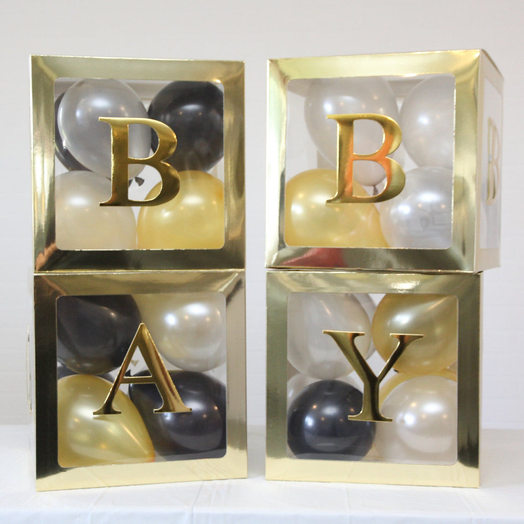 Baby Boxes Baby Shower Balloon Box Gold Lively & Co
