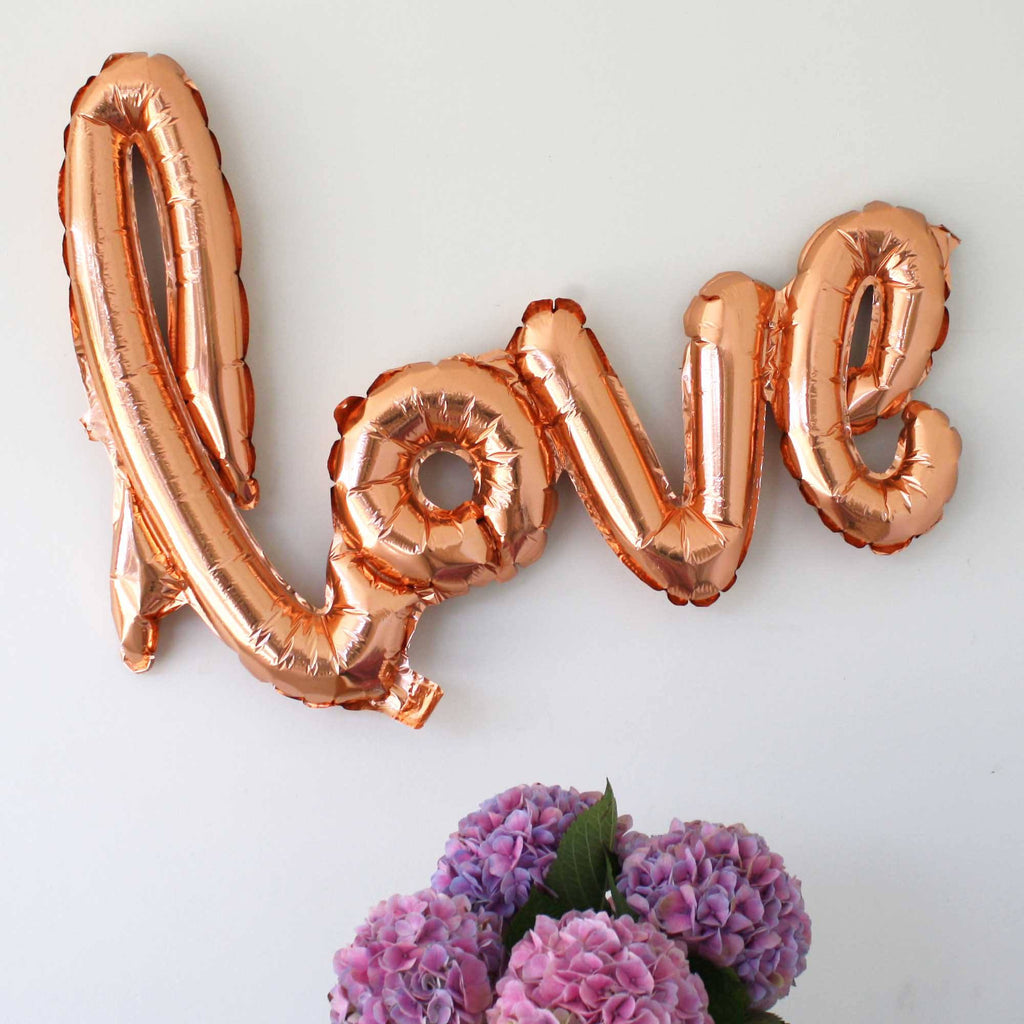 love balloons script in rose gold hens party