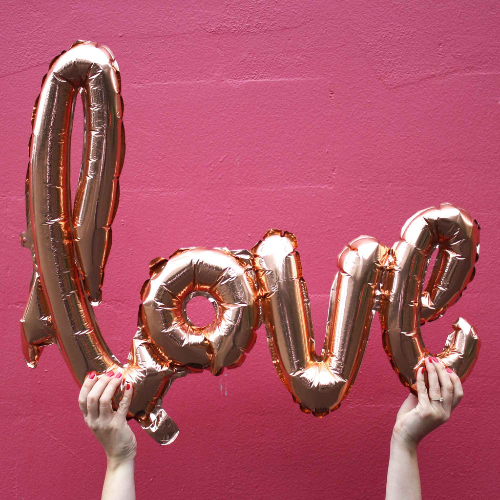 rose gold love balloons script