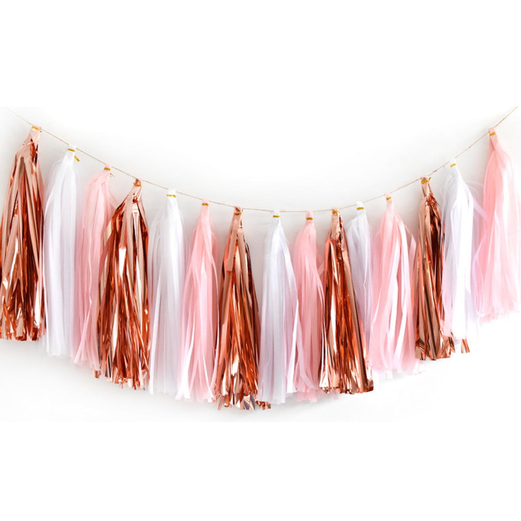Metallic Rose Gold, Pink & White Tassel Garland Set 15 Piece Lively & Co