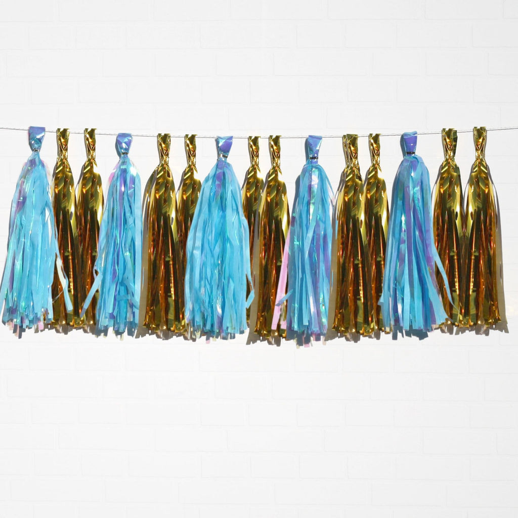 Holographic Blue & Metallic Gold Tassel Garland Set 15 Piece Lively & Co