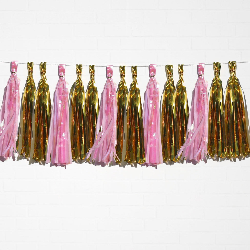 Holographic Pink & Metallic Gold Tassel Garland Set 15 Piece Lively & Co