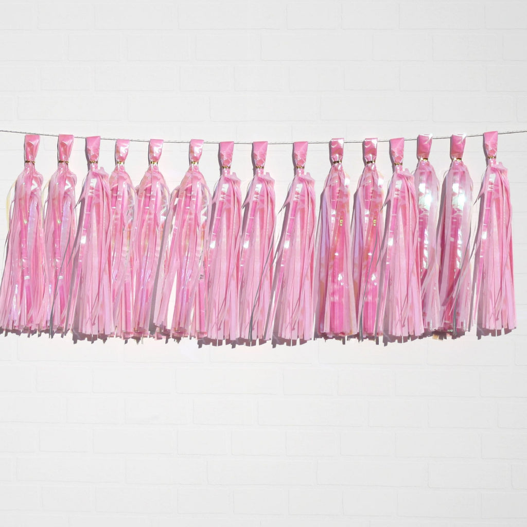 Holographic Pink Tassel Garland Set 15 Piece Lively & Co
