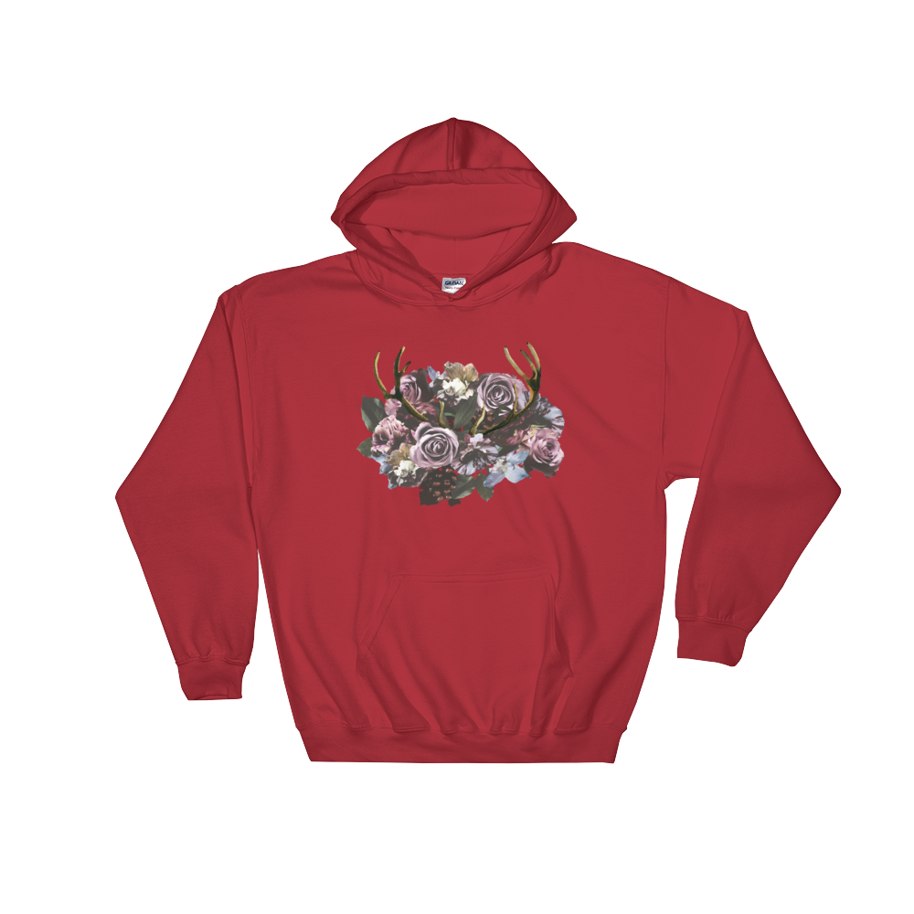 River Row Dark Floral Antlered Hoodie