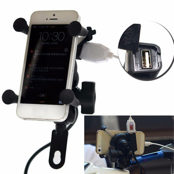 Electric Bicycle Scooter Cell Phone & GPS Mount with USB Charger 5V/2A
