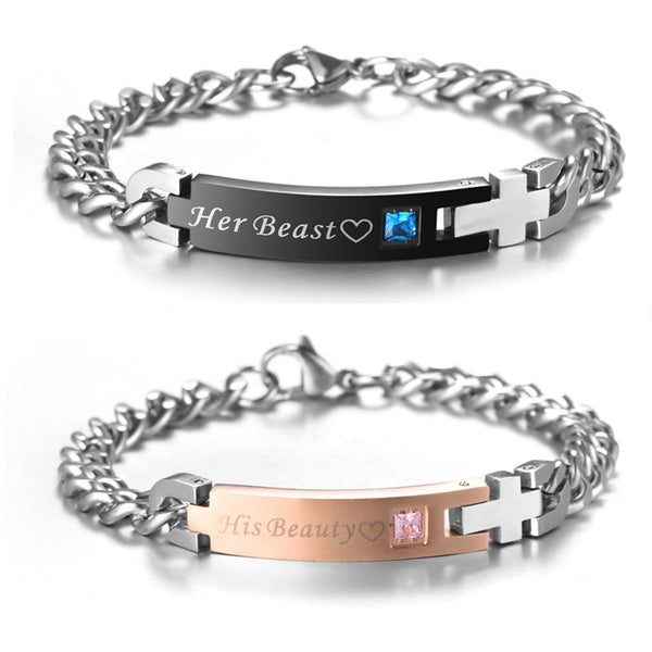 """His Beauty"" & ""Her Beast"" Titanium Couples Bracelet-Crystal Charm & Cross"