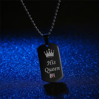"""Her King & His Queen"" TITANIUM BLACK Dog-Tag Pendent Couples Necklace"