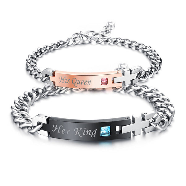 """Her King"" & ""His Queen"" Titanium Couples Bracelet -/Crystal Charm & Cross"