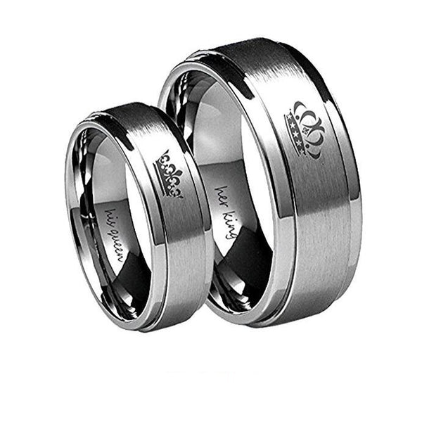 """His Queen"" and ""Her King"" Couples Ring / TITANIUM SILVER"