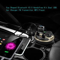 Car Cup Holder LCD Bluetooth Dual Cigarette Lighter / USB Charger