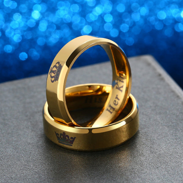 """His Queen"" & ""Her King"" Couples Rings- GOLD/BLACK"