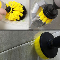 Power Drill Scrubber Cleaning Brush -3pc / for Bathroom Surfaces Tub Shower Tile Grout Etc