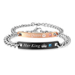 """Her King"" & ""His Queen"" Titanium Crystal Charm Couples Bracelet"