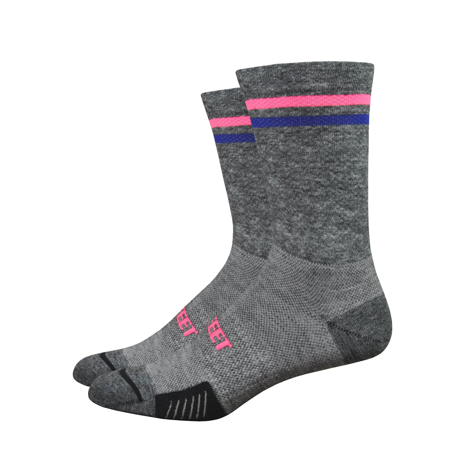 "Cyclismo Wool Comp 6"" Gravel Grey/Hi-Vis Pink/Light Navy"