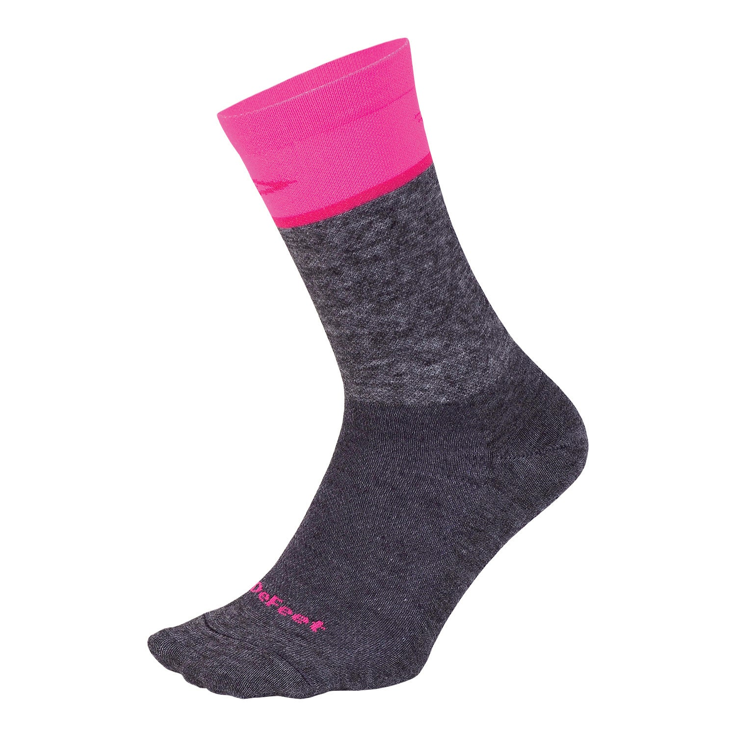 "Wooleator Comp 6"" Team DeFeet Gravel Grey/Neon Pink"