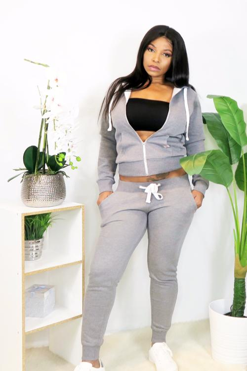 Grey Basic Zip Hoodie Jacket and Jogger Sweatpants Set