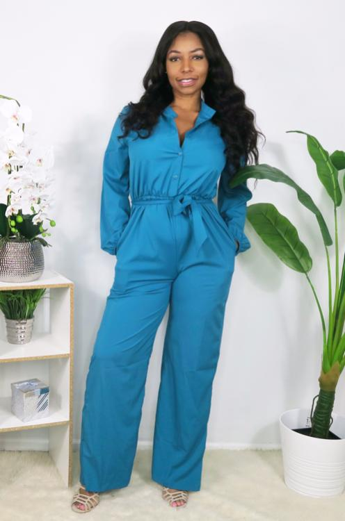 Deep V Neck Sexy Teal Jumpsuit