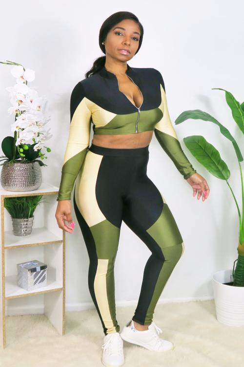 Multi Block Panel Stretchy Two Piece Set