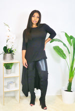 3/4 Long Length Sleeve Black Irregular Tunic Top