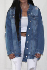 Over sized  Destroyed Denim Jean Jacket