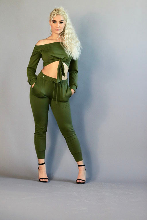 Olive Green Off the Shoulder Top and Jogger Two Piece Set