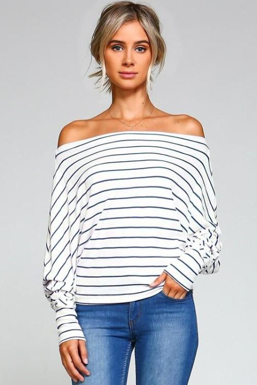 Ivory/Black Off The Shoulder Top