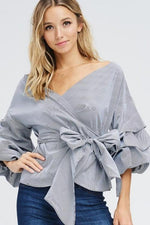 Tiered Ruffle Wrap Blouse