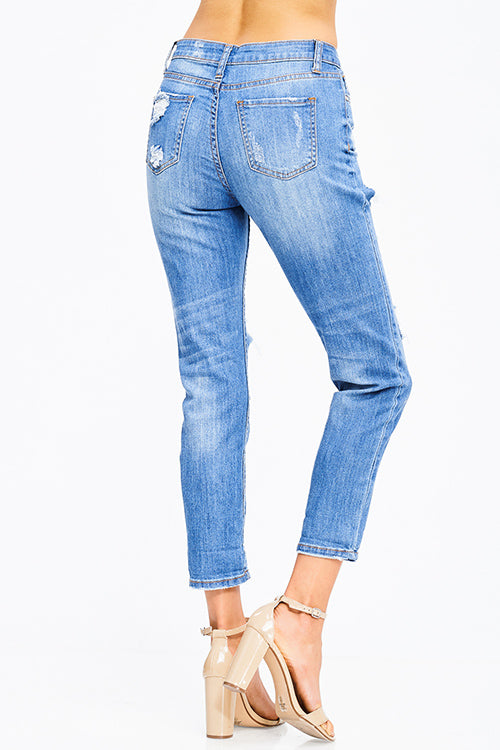 Blue Washed Distressed Boyfriend Jeans