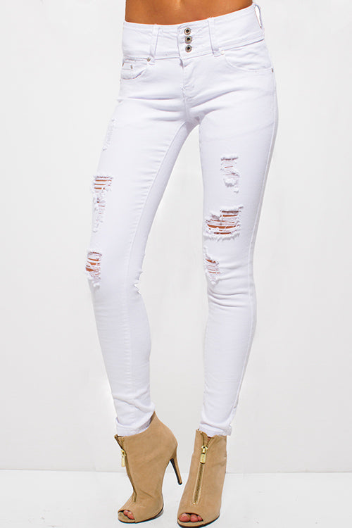 White Denim Ripped Jeans