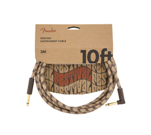 Fender 10' Angled Festival Instrument Cable Pure Hemp Brown Stripe
