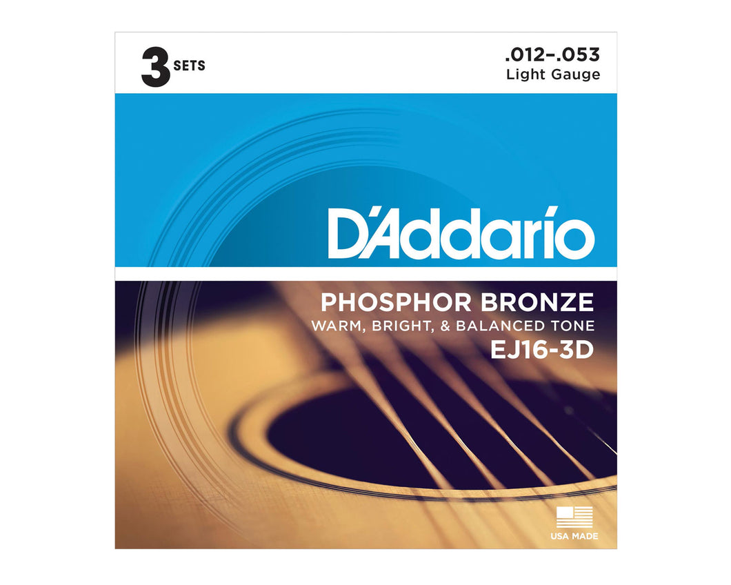 D'Addario EJ16-3D Phosphor Bronze Acoustic Guitar Strings (3 Pack)
