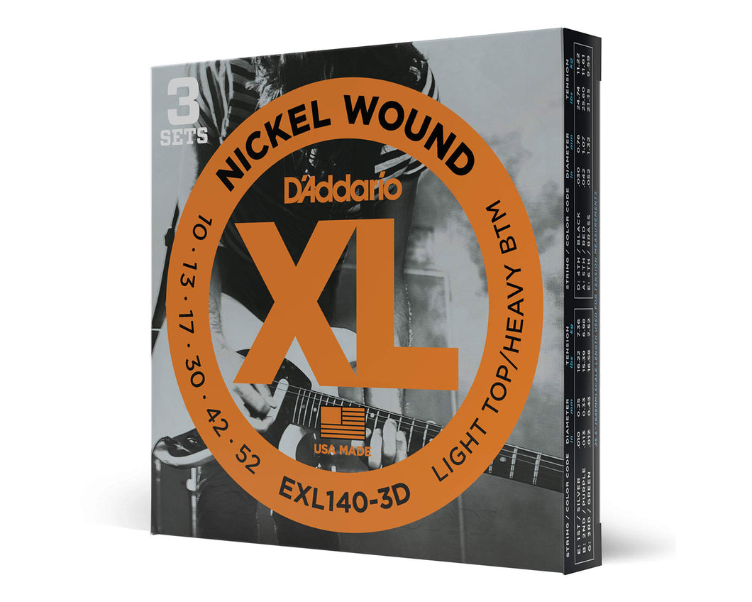 D'Addario EXL140-3D Nickel Wound Electric Guitar Strings (3 Pack)