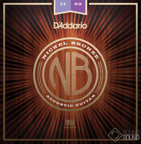D'Addario NB1152 Nickel Bronze Acoustic Guitar Strings Custom Light 11-52